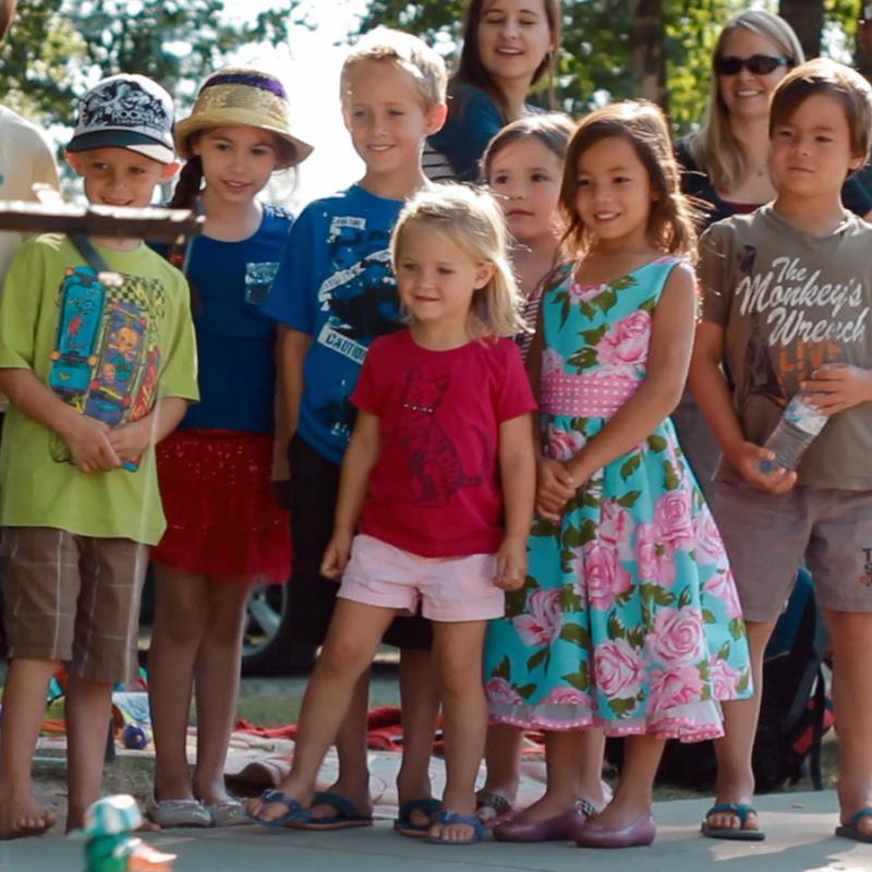 Dancing Duck Man and Andorra - Kids Watching